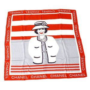 CHANEL CC Mademoiselle Jumbo Scarf Stole Red White